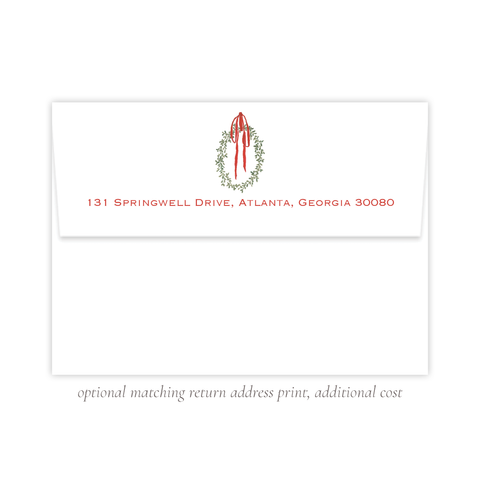 Wadsworth Wreath A7 Return Address Print