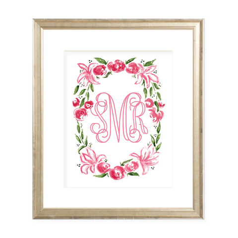 Weatherly Hot Pink Monogram 8 x 10 Watercolor Print