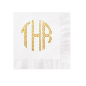 Circle Monogram Gold Foil White Luncheon Coined Napkin