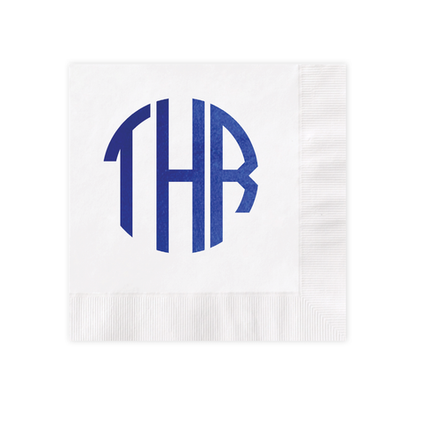 Circle Monogram Royal Blue Foil White Luncheon Coined Napkin