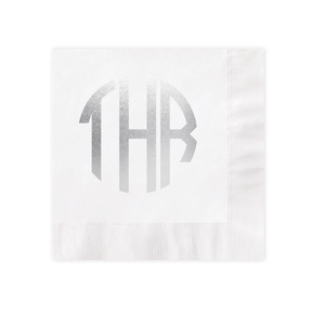 Circle Monogram Silver Foil White Luncheon Coined Napkin