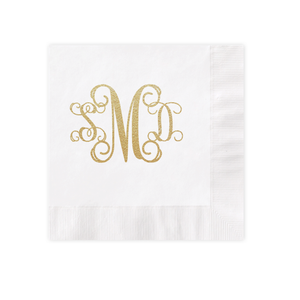 Vine Monogram Gold Foil White Luncheon Coined Napkin