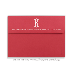Red Envelope with White Ink Return Address Print