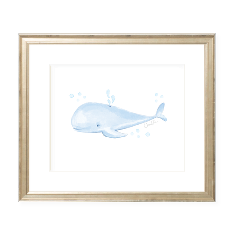 Willie Whale Landscape Watercolor Print by Sugar B Designs