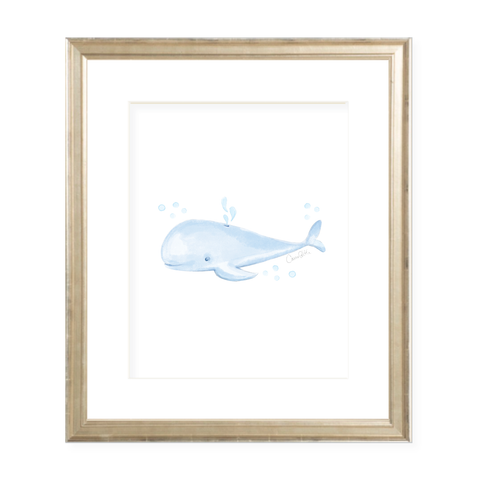 Willie Whale Portrait Watercolor Print