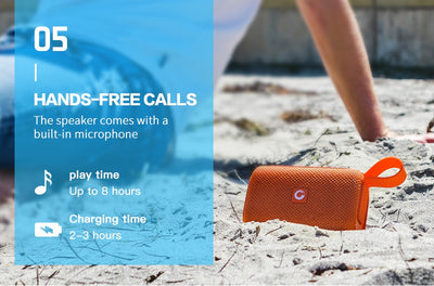 E-go Outdoor Waterproof IPX6 Speaker Mini Bluetooth with Built-in Mic