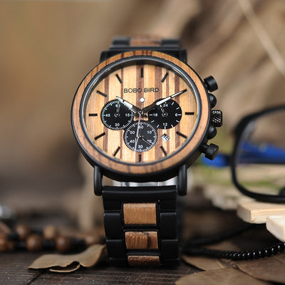 THE WOODEN BOX - Metal Wood Watch and Polarized Sunglasses UV400 Gift Box