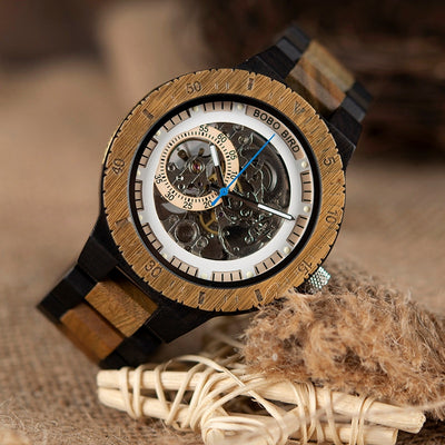 THE WOODEN BOX -Wooden Mechanical Watch and Bead Bracelet Gift Box