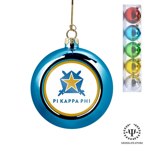 Pi Kappa Phi Set of 5 color balls Christmas décor ornament