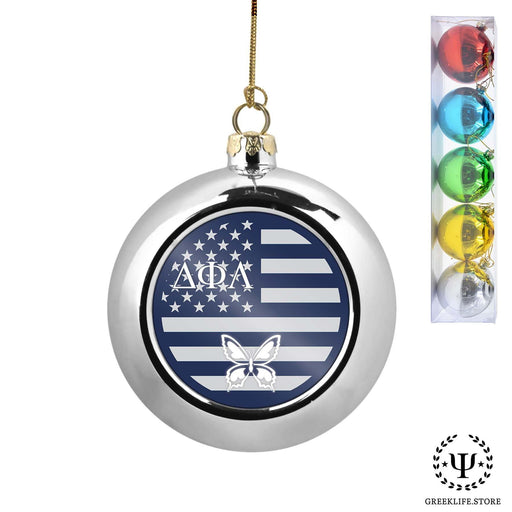 Delta Phi Lambda Set of 5 color balls Christmas décor ornament - greeklife.store