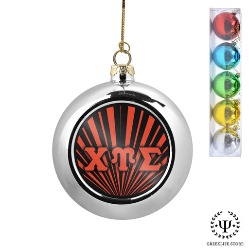 Chi Upsilon Sigma Set of 5 color balls Christmas décor ornament - greeklife.store