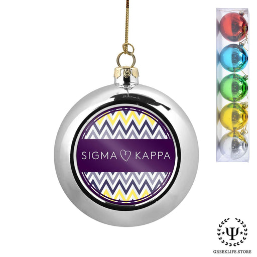 Sigma Kappa Set of 5 color balls Christmas décor ornament - greeklife.store