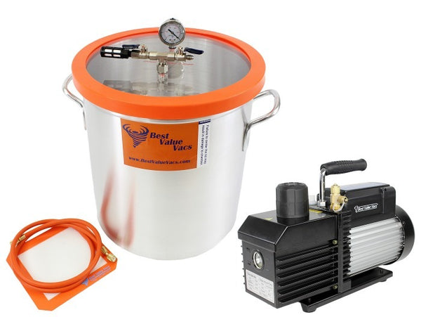 Best Value Vacs 10 Gallon Aluminum Vacuum Chamber and VE Series Vacuum Pump Kit