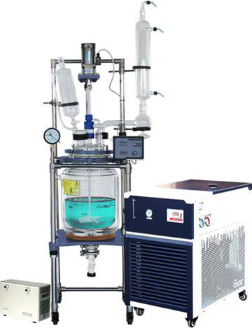 Ai 20L Single/Dual Jacketed Glass Reactor w/ Chiller & Pump