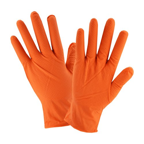 PosiGrip 7 Mil Industrial Grade Powder Free Textured Orange Nitrile Gloves - Large 100/box