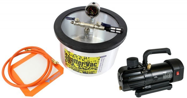 SVac 2 Gallon Aluminum Vacuum Chamber and BVV130 3CFM Single Stage MINI Vacuum Pump Kit