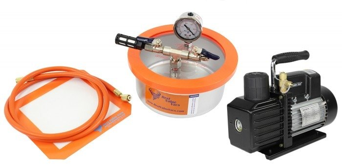 Best Value Vacs 2 Quart Stainless Steel Flat Vacuum Chamber and VE Series Vacuum Pump Kit