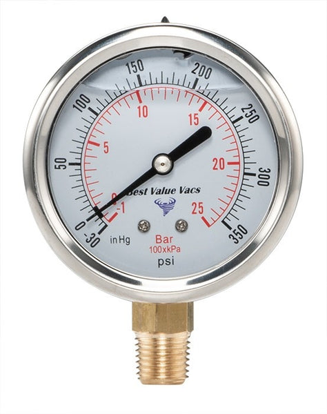 "Glycerin Filled Compound Gauge with 1/4"" NPT Base - (-30)-350 PSI"
