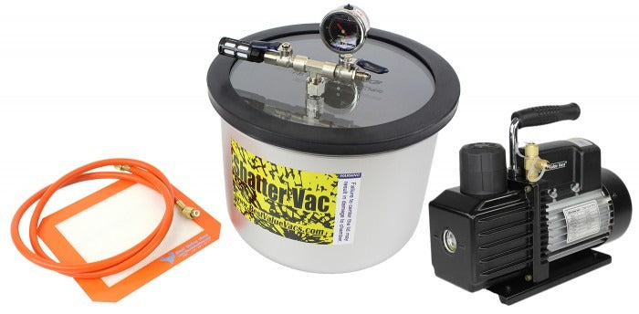 SVac 3 Gallon WIDE Stainless Steel Vacuum Chamber and VE Series Vacuum Pump Kit