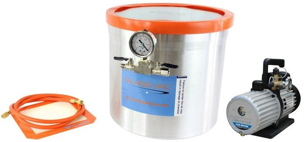 Glass Vac 5 Gallon Aluminum Vacuum Chamber and Mastercool 6CFM 2 Stage Vacuum Pump Kit