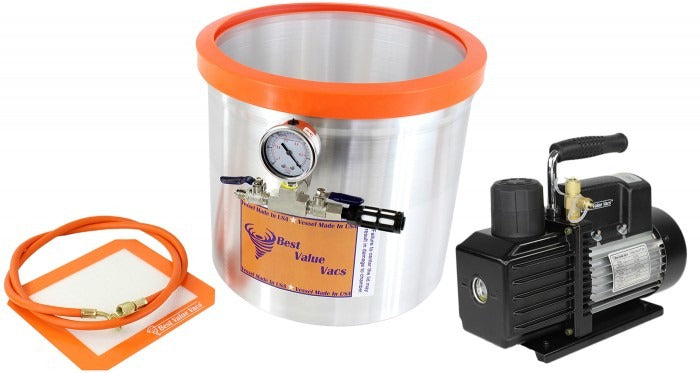 Best Value Vacs 5 Gallon SIDEMOUNT Aluminum Vacuum Chamber and VE Series Vacuum Pump Kit