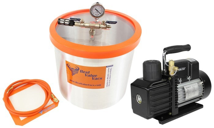 Best Value Vacs 5 Gallon Aluminum Vacuum Chamber and VE Series Vacuum Pump Kit