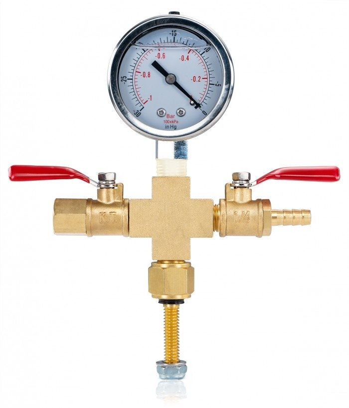 Valve Manifold - Cross with Hose Barb and Vacuum Gauge