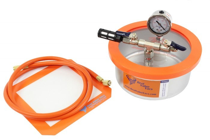 Best Value Vacs 2 Quart Flat Stainless Steel Vacuum and Degassing Chamber