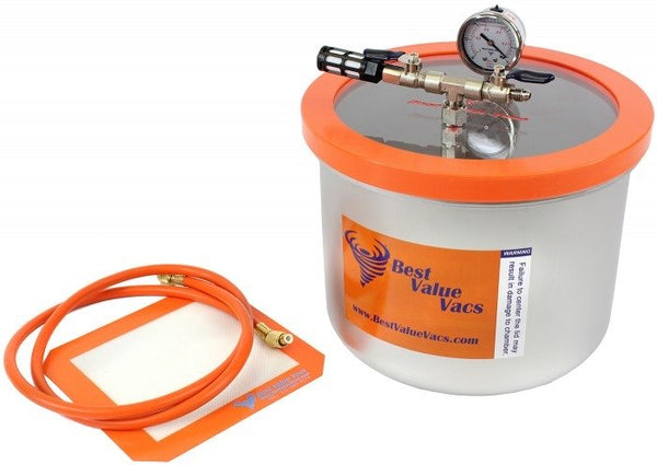 Best Value Vacs 3 Gallon Wide Stainless Steel Vacuum and Degassing Chamber