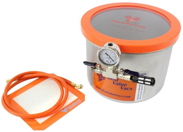 Best Value Vacs 3 Gallon Wide Stainless Steel Side Mount Vacuum and Degassing Chamber