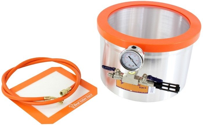 Best Value Vacs 2 Gallon Aluminum Side Mount Vacuum and Degassing Chamber