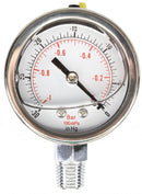 "Standard Glycerine Filled Vacuum Gauge 1/4"" NPT BASE"