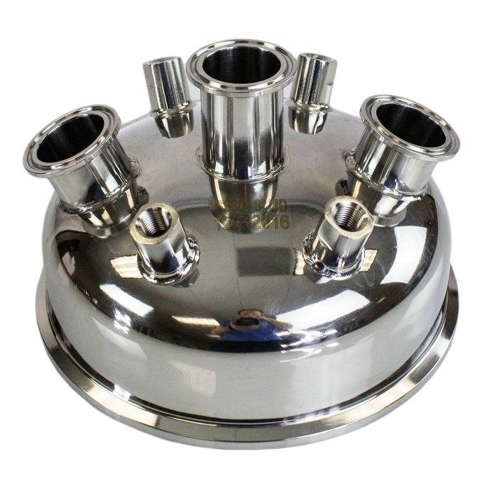"8"" x (3) 1.5"" Tri-Clamp x (4) 1/4"" FNPT Hemispherical Lid"