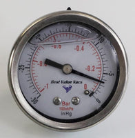 Oil Filled Vacuum/Pressure Gauge - Back Mount
