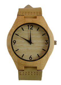 Bamboo Leather Band Watch