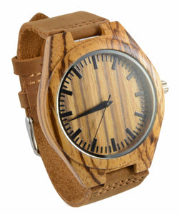 Zebra Wood Leather Band Watch