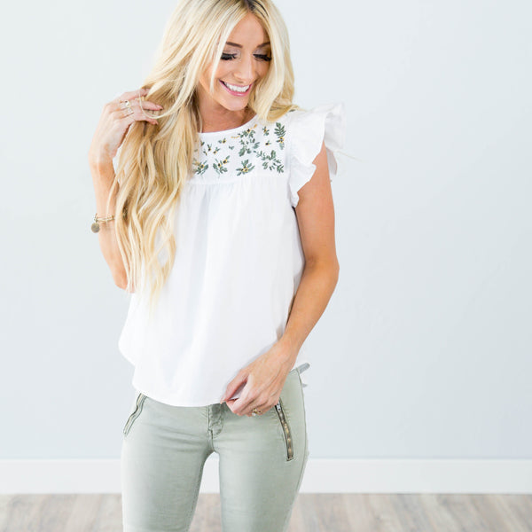 Saylor Embroidered Top in Ivory