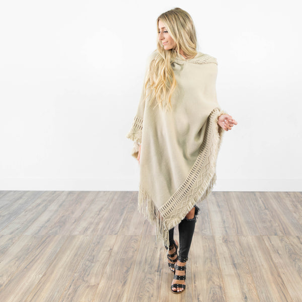 South Mountain Knit Poncho in Taupe