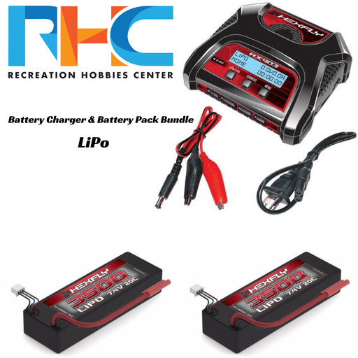 Recreation Hobbies Center Battery And Charger Bundle LiPo Battery Charger & Battery Pack Bundle - Banana 4.0 Connector