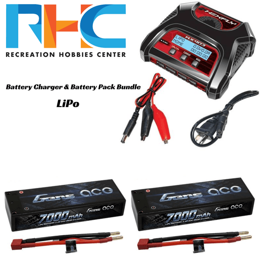 Recreation Hobbies Center Battery And Charger Bundle LiPo Battery Charger & Battery Pack Bundle - Deans Connector
