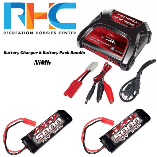 Recreation Hobbies Center Battery And Charger Bundle NiMh Battery Charger & Battery Pack Bundle - Banana 4.0 Connector