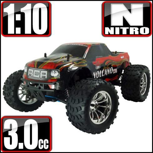 Redcat Racing Vehicle Redcat Racing Volcano S30 1/10 Scale Nitro Monster Truck - Red / Flame