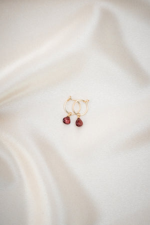 Baby Garnet Earrings Gold
