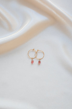 Birthstone Pink Earrings Gold