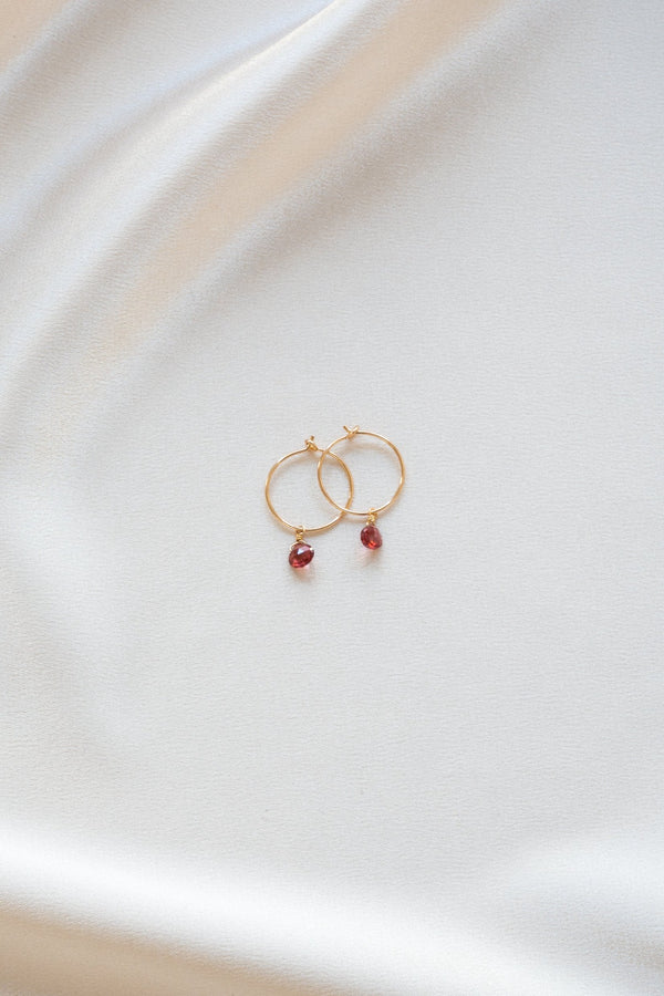 Birthstone Garnet Earrings Gold