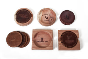Leather Coasters and Wooden Holders