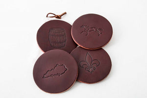 "Leather Coasters - Round Design with ""FREE"" PERSONALIZATION*"