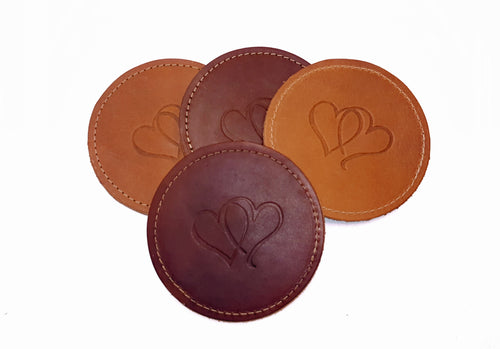 Leather Coasters - Stitched - Round Design with