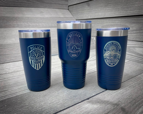 Police Badge Tumbler- Salute our Heroes