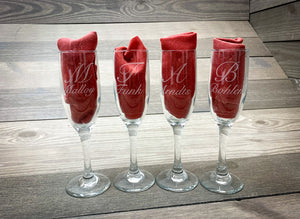 Laser Engraved Champagne Flutes- Firebird Group, Inc.